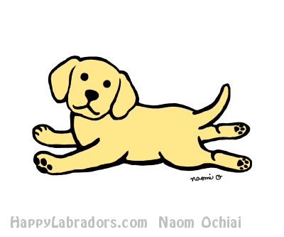 Innocent Yellow Labrador Puppy Cartoon by HappyLabradors.com