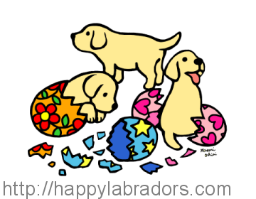 Yellow Labrador Puppy Cartoon created by Naomi Ochiai