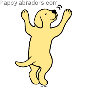 Yellow Labrador Puppy Hug Cartoon Gifts by HappyLabradors.com