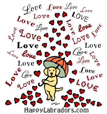 Yellow Labrador Rain of Hearts Cartoon Gifts by HappyLabradors.com
