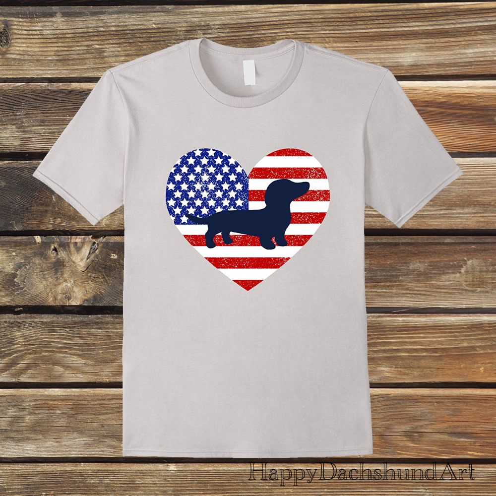 Patriotic Dachshund Doxie Silhouette in American Flag T-shirt