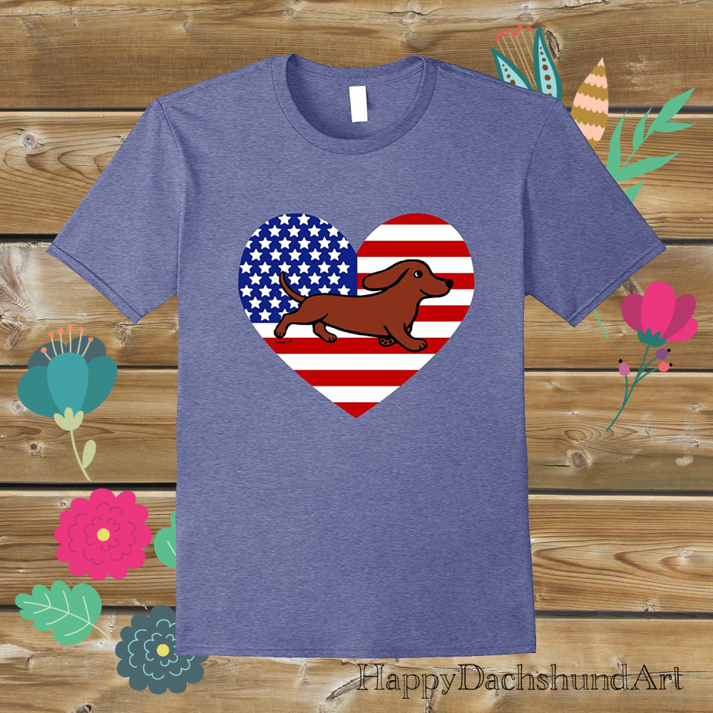 Patriotic Dachshund American Flag Heart T-shirt by HappyDachshundArt