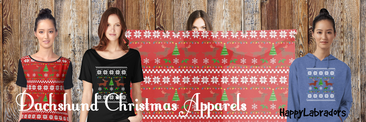 Dachshund Christmas Pattern Apparels T-shirts Hoodies Scarves and more!
