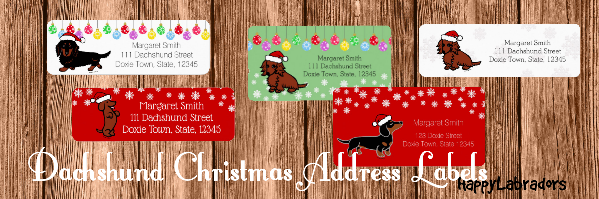 Dachshund Christmas Address Labels by HappyDachshundArt