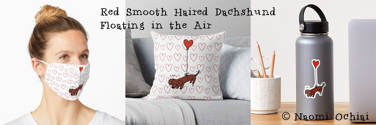 Red Smooth Haired Dachshund Floating in the Air Gifts by HappyDachshundArt