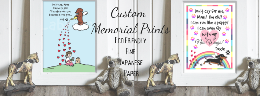 Custom Dachshund Memorial Prints printed on Fine Japanese Paper.  Ship from Japan.