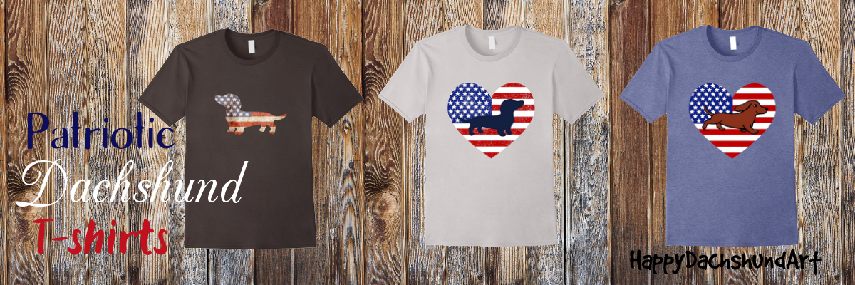 Patriotic Dachshund Doxie T-shirts with American Flag and Stars and Stripes