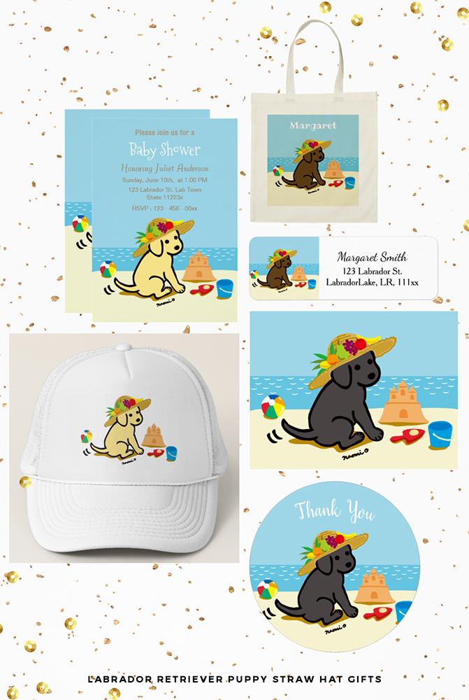 海辺の麦わら帽子のラブラドールのグッズ by ハッピーラブラドールズ