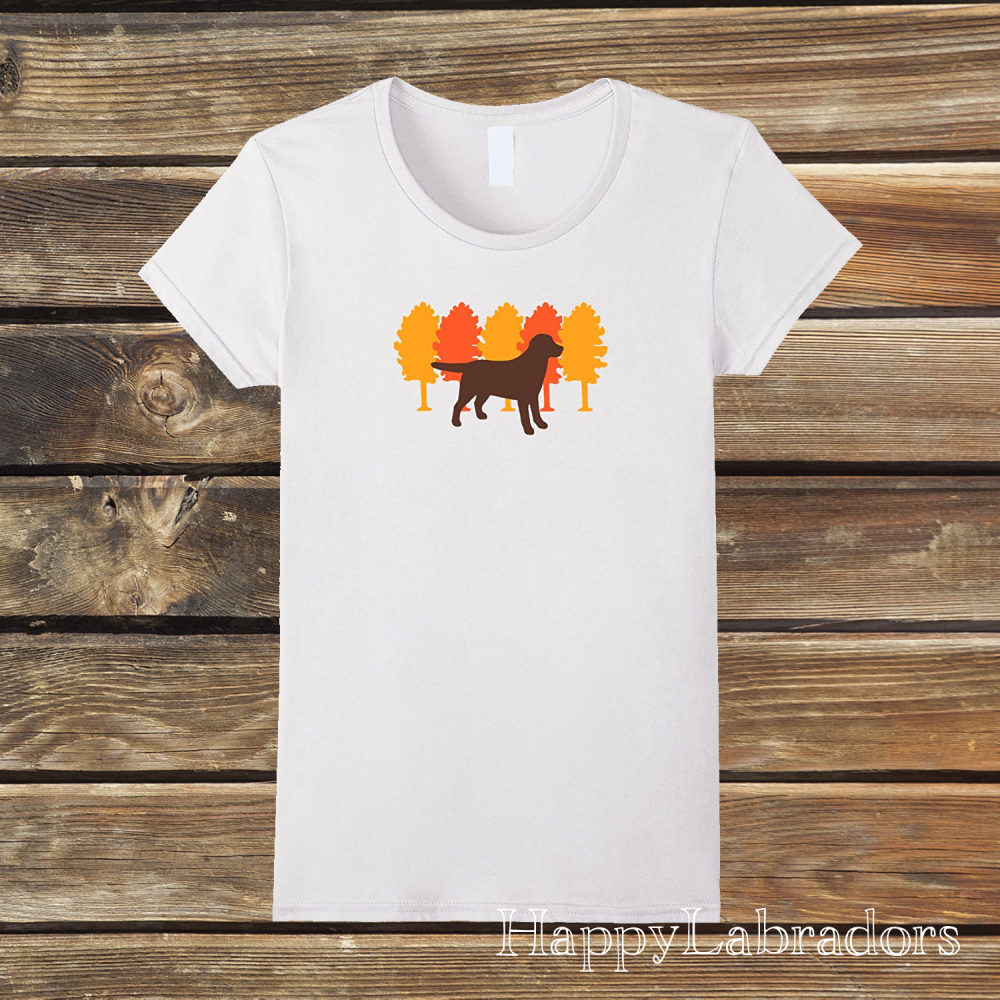 Autumn Trees Chocolate Labrador Silhouette T-shirt by HappyLabradors