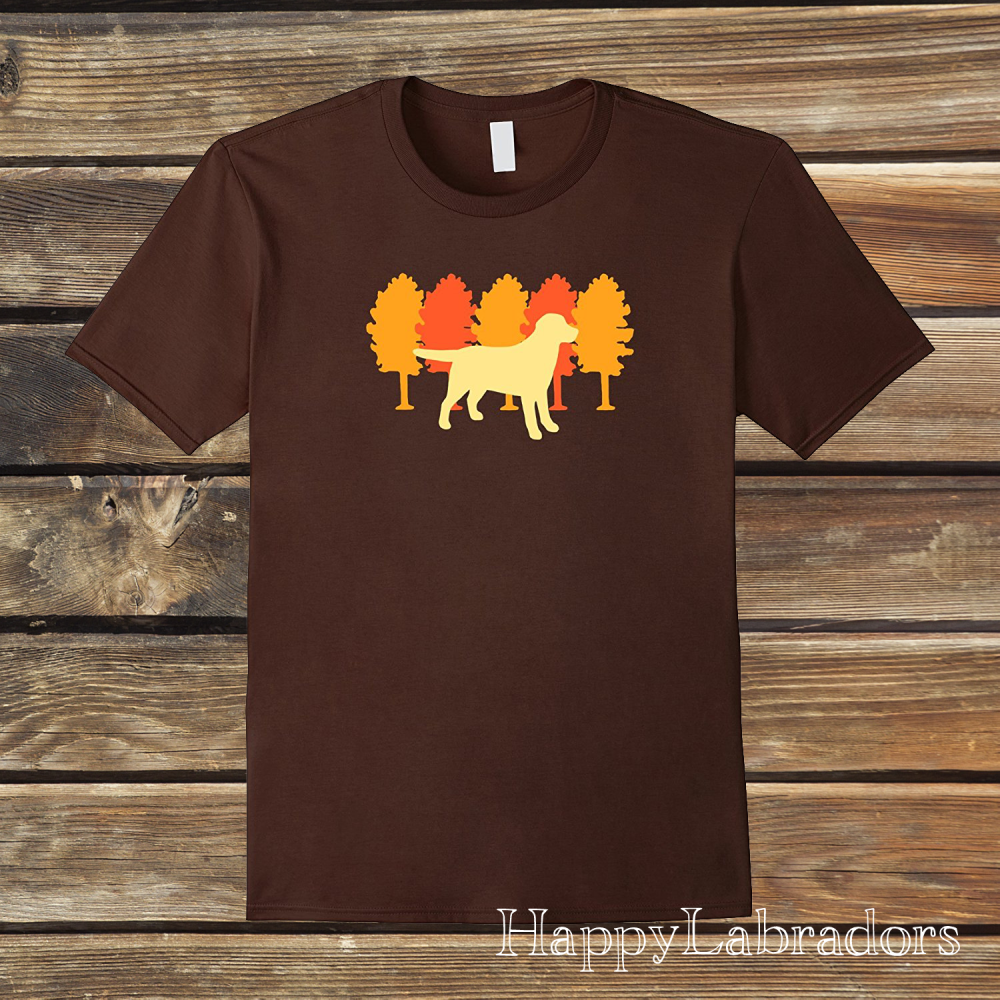 Autumn Trees Yellow Labrador Silhouette T-shirt by HappyLabradors