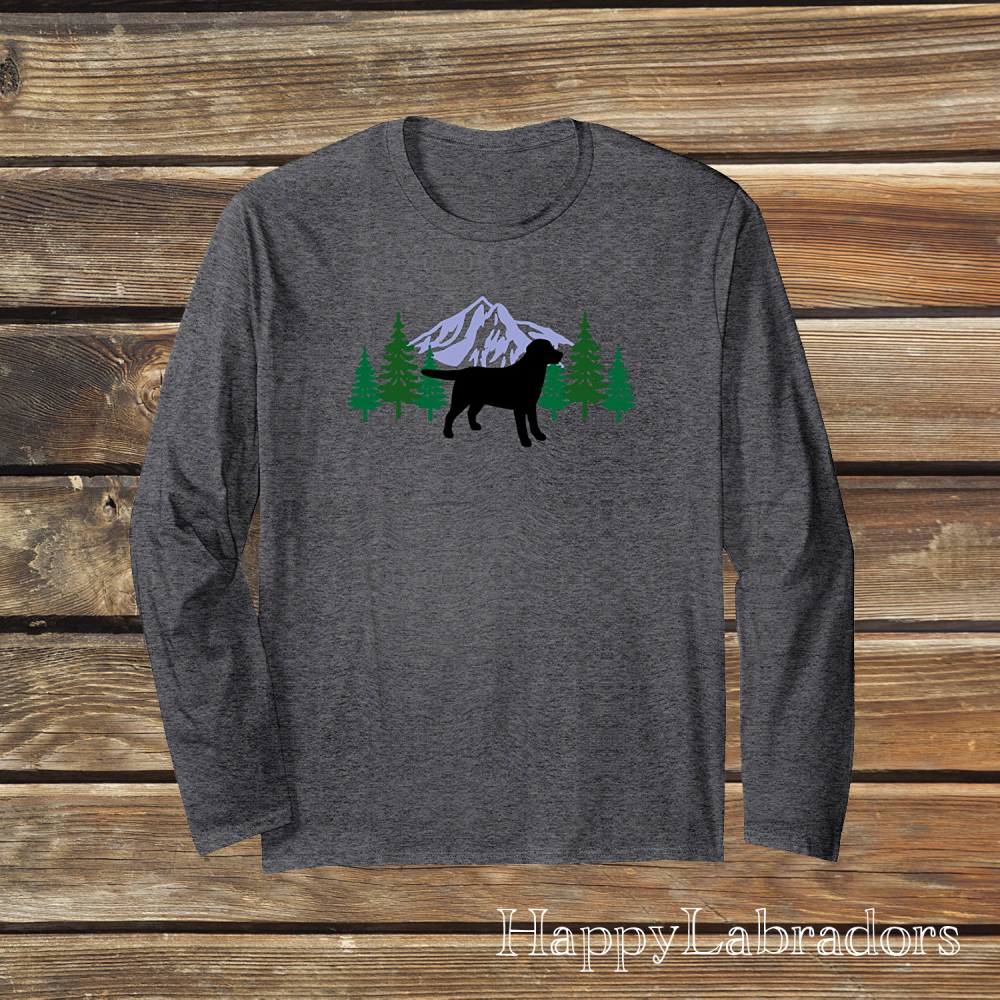Black Labrador Evergreen Long Sleeve T-shirts by HappyLabradors in Amazon
