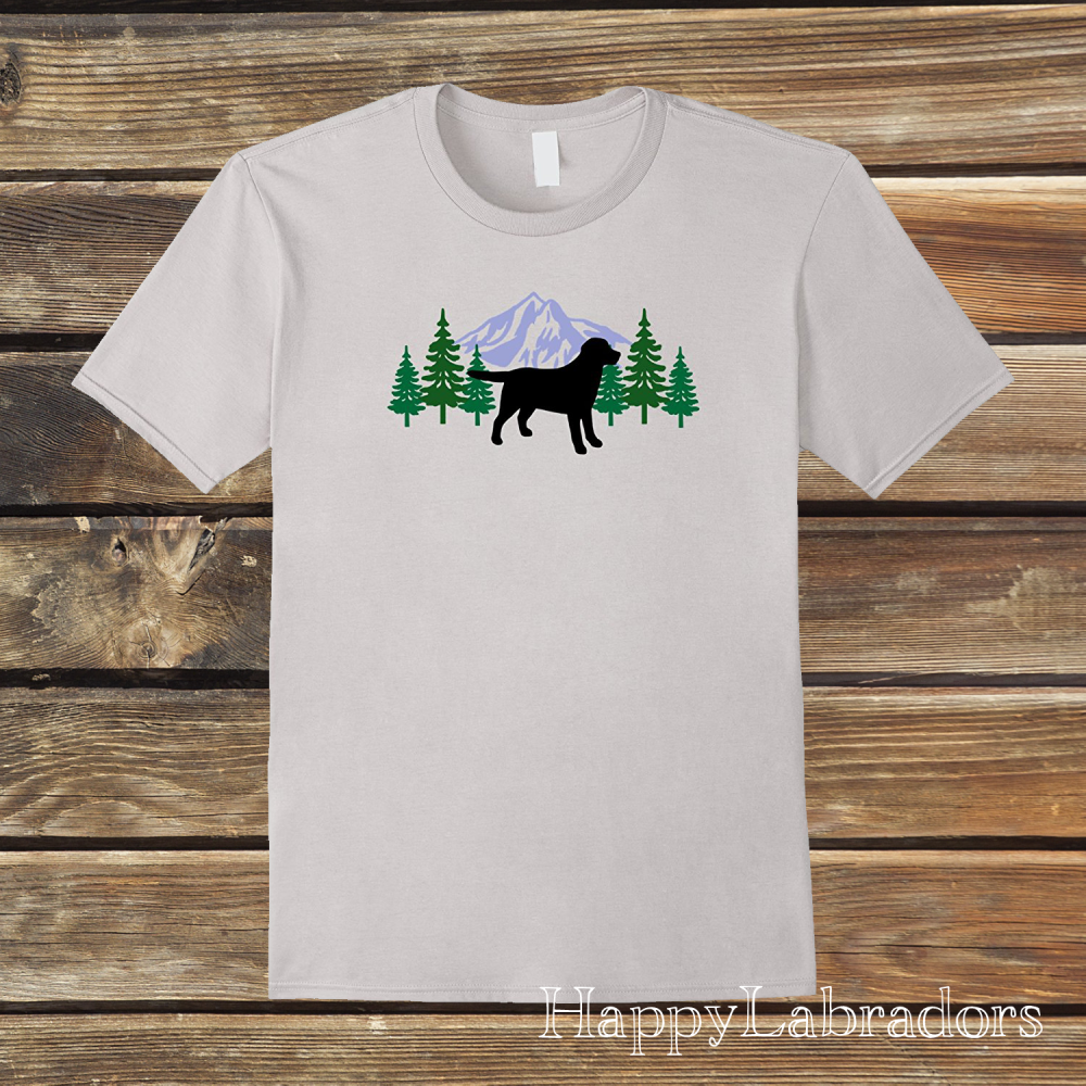 Black Labrador Evergreen T-shirts by HappyLabradors in Amazon