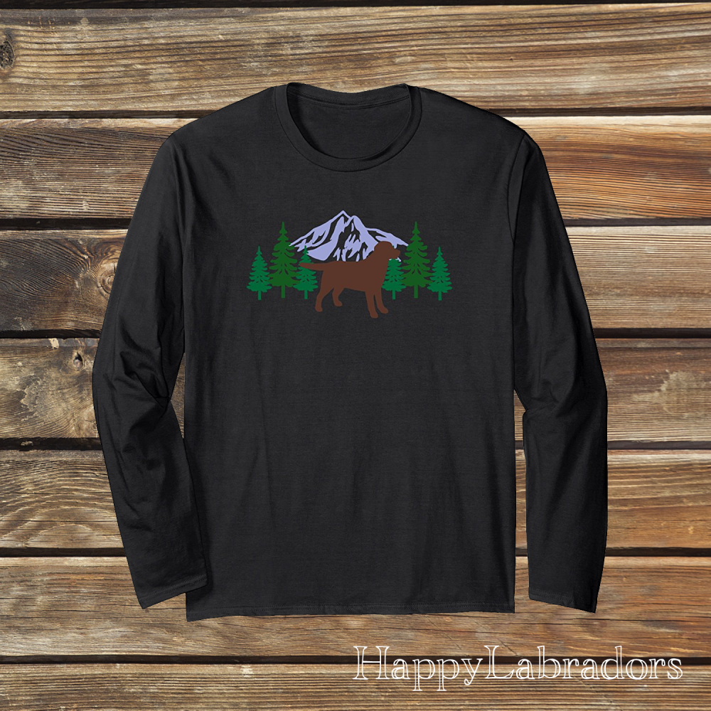 Chocolate Labrador Evergreen Long Sleeve T-shirts by HappyLabradors in Amazon