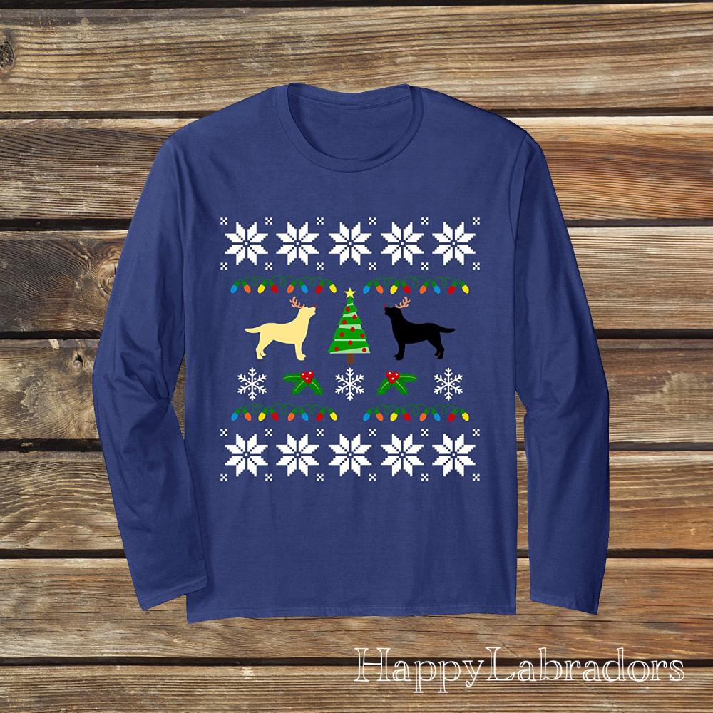 Labrador Christmas Long Sleeve T-shirts by HappyLabradors in Amazon