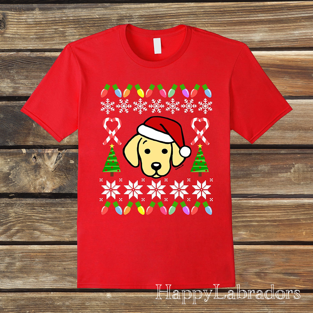 Yellow Labrador Puppy Christmas Sweater Pattern T-shirt by HappyLabradors in Amazon