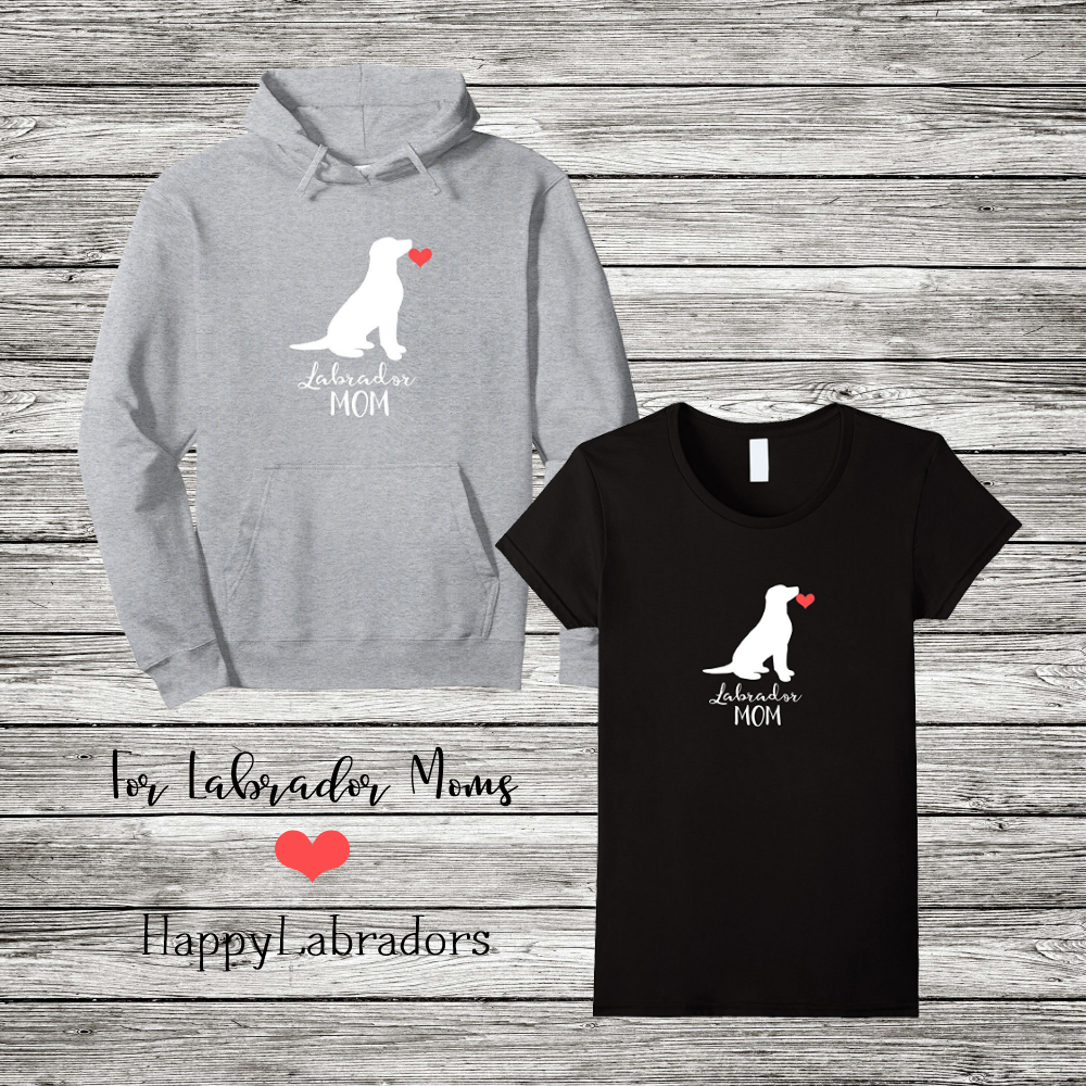 Labrador Mom T-shirt and Hoodie with Labrador Sitting Silhouette design in Amazon