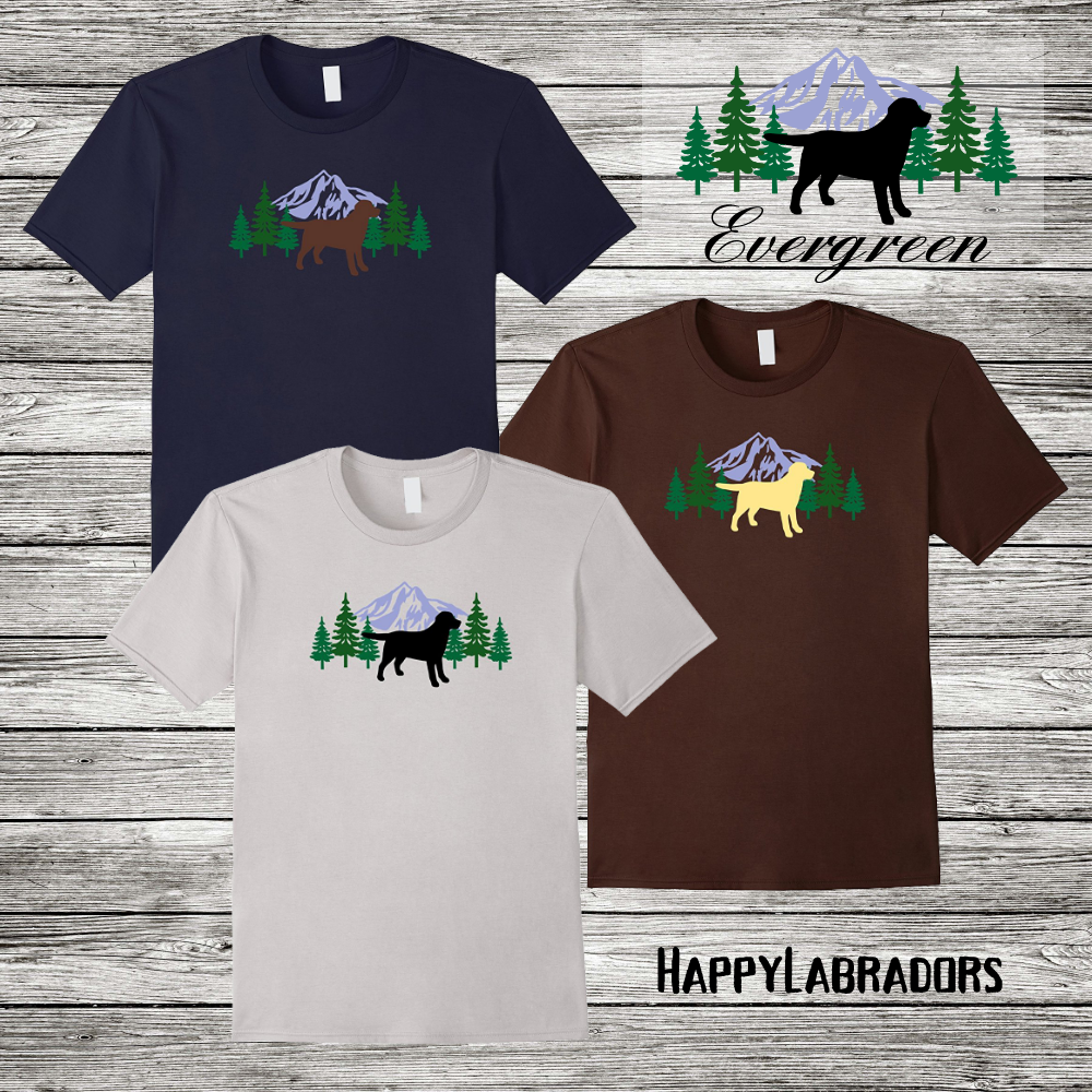 Labrador Retriever Evergreen Silhouette Outline T-shirts by HappyLabradors in Amazon #labrador #labradorretriever #tshirt