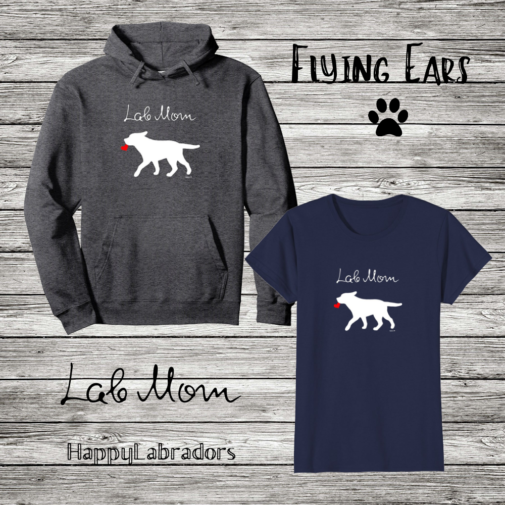 Labrador Mom Flying Ears Dog Silhouette T-shirt and Hoodie by HappyLabradors in Amazon