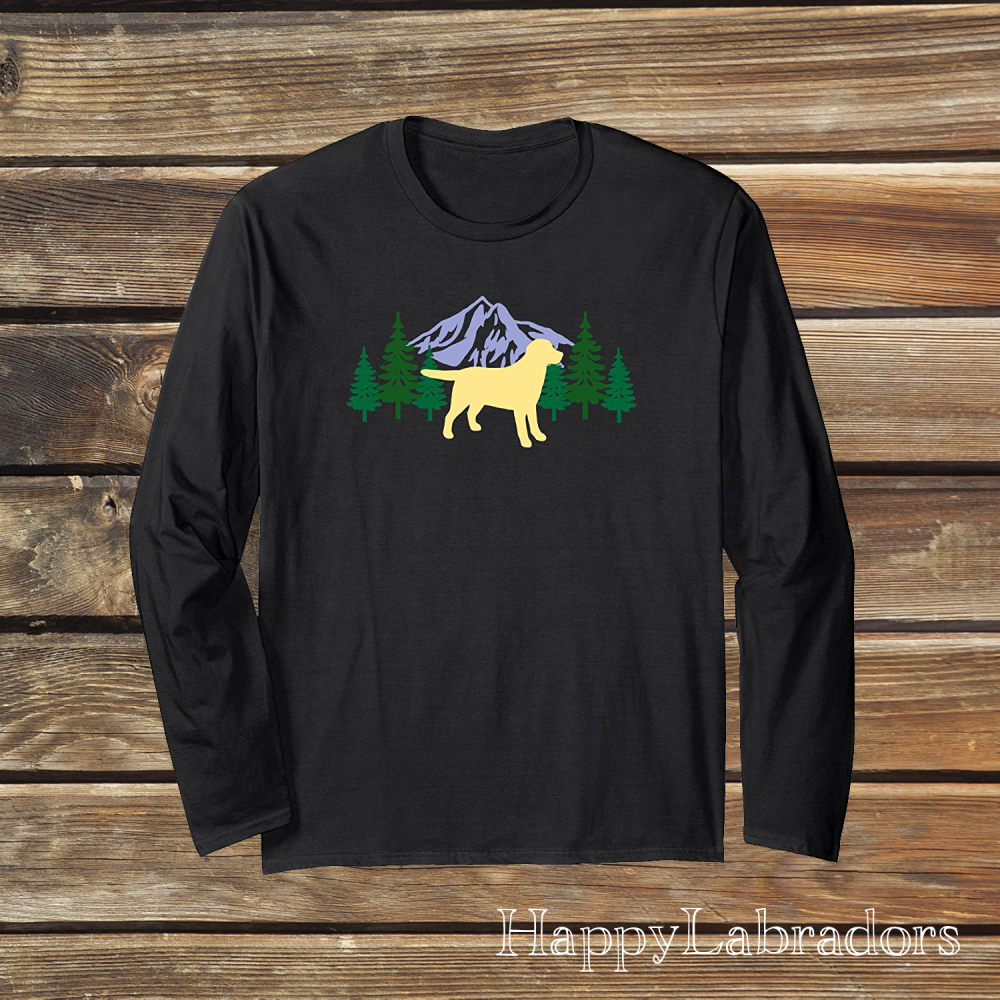 Yellow Labrador Evergreen Long Sleeve T-shirts by HappyLabradors in Amazon