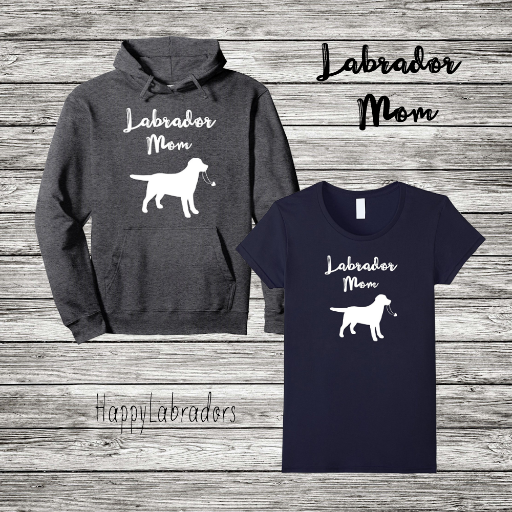 Labrador Retriever Mom Outline Silhouette T-shirt and Hoodie by HappyLabradors in Amazon