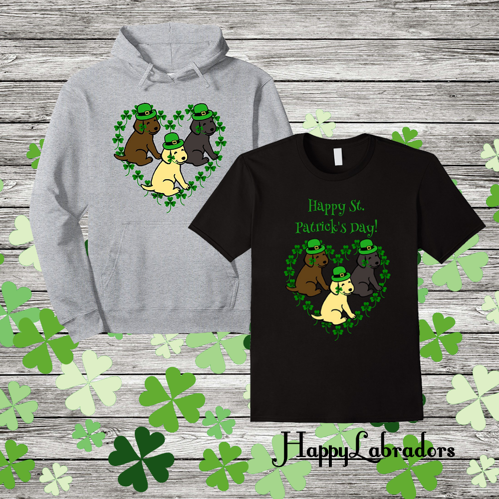 Labrador Retriever St. Patrick's Day T-shirts and Hoodies in Amazon