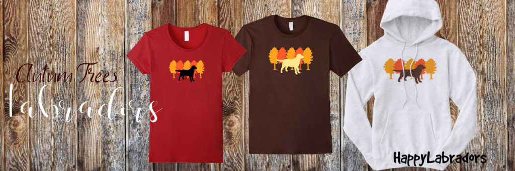 Autumn Trees Labradors T-shirts and Hoodies by HappyLabradors