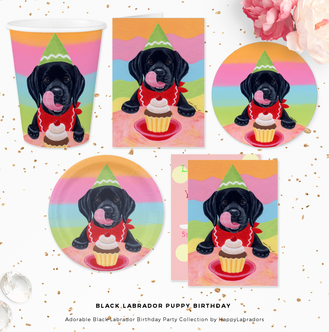 Black Labrador Puppy Birthday Party Collection by HappyLabradors @zazzle