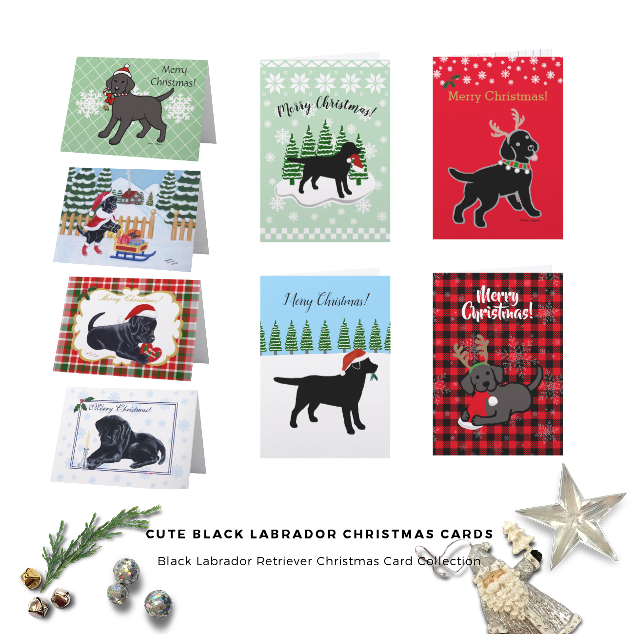 Cute Black Labrador Retriever Christmas Card Collection by HappyLabradors