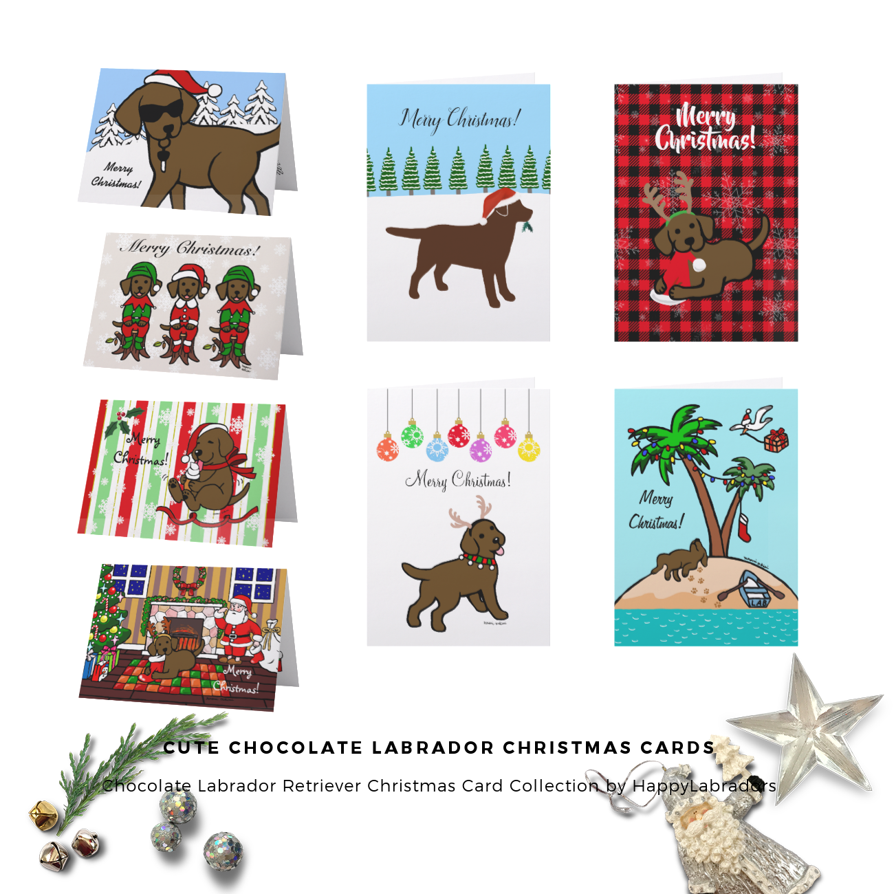 Cute Chocolate Labrador Christmas Cards by HappyLabradors