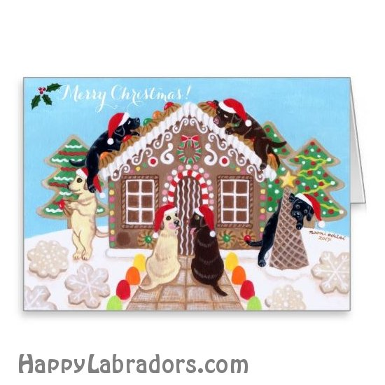 Ginger Bread House Labradors Christmas Cards by HappyLabradors.com