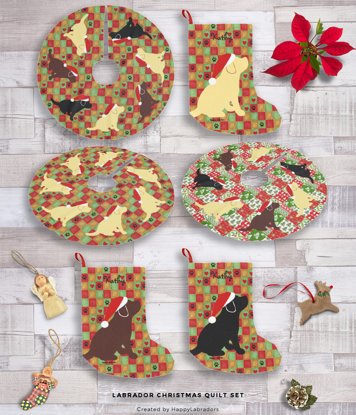 Labrador Christmas Quilt Set Collection by HappyLabradors
