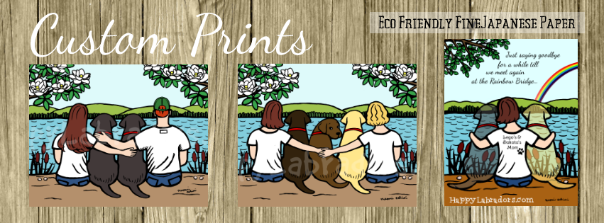 Custom Labrador Prints and Memorial Prints printed on Fine Japanese Paper. Ship from Japan