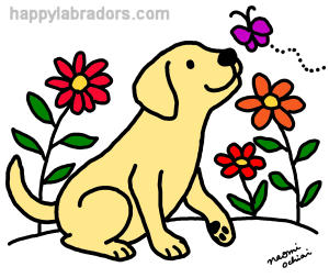 Yellow Labrador and Green Digital Drawing created by Naomi Ochiai from Japan