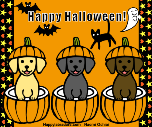 Halloween Labrador Cartoon by Naomi Ochiai