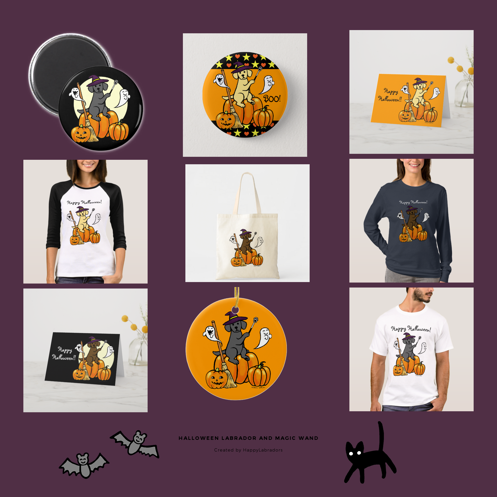 Halloween Labrador Retriever and Magic Wand Collection by HappyLabradors @zazzle
