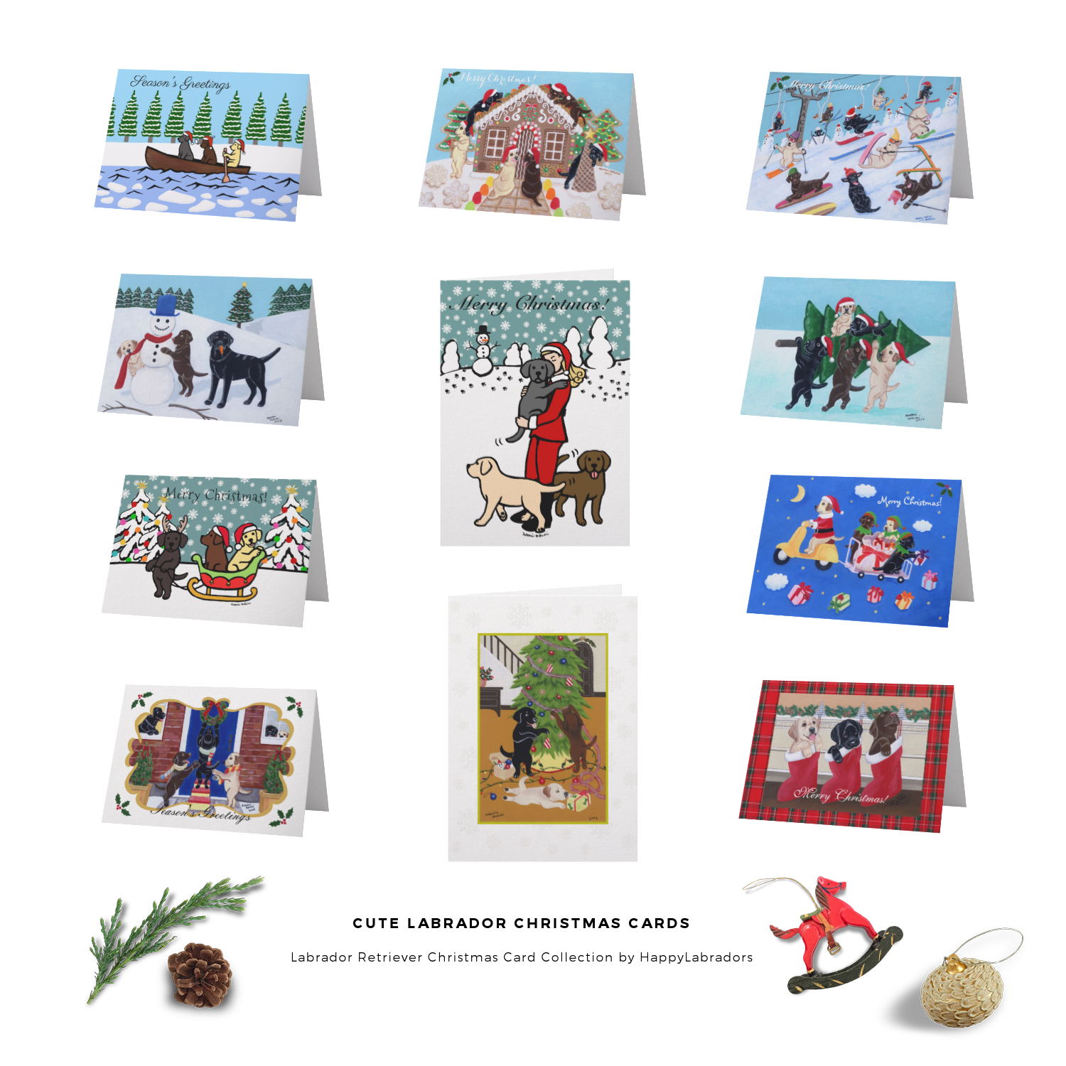 Labrador Retriever Christmas Card Collection by HappyLabradors