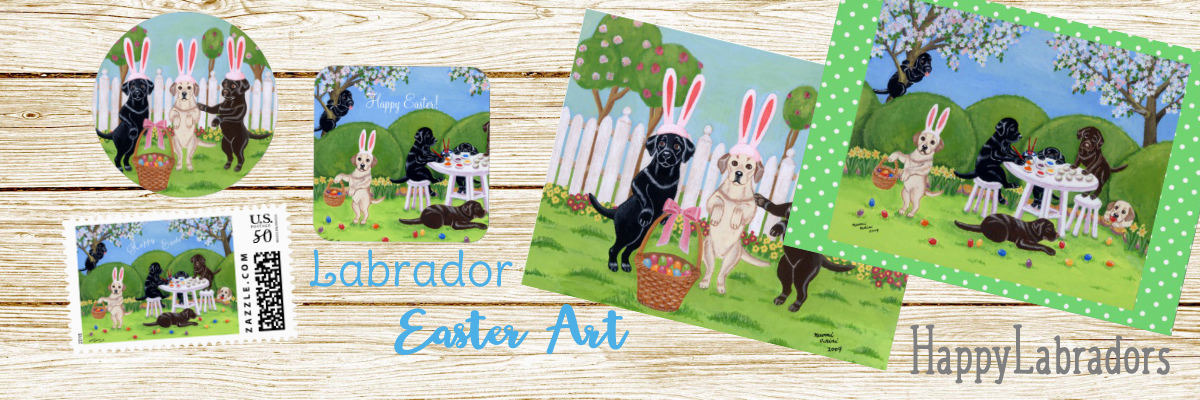 Labrador Retriever Easter Art Greeting Cards and Stationery and more by HappyLabradors @zazzle