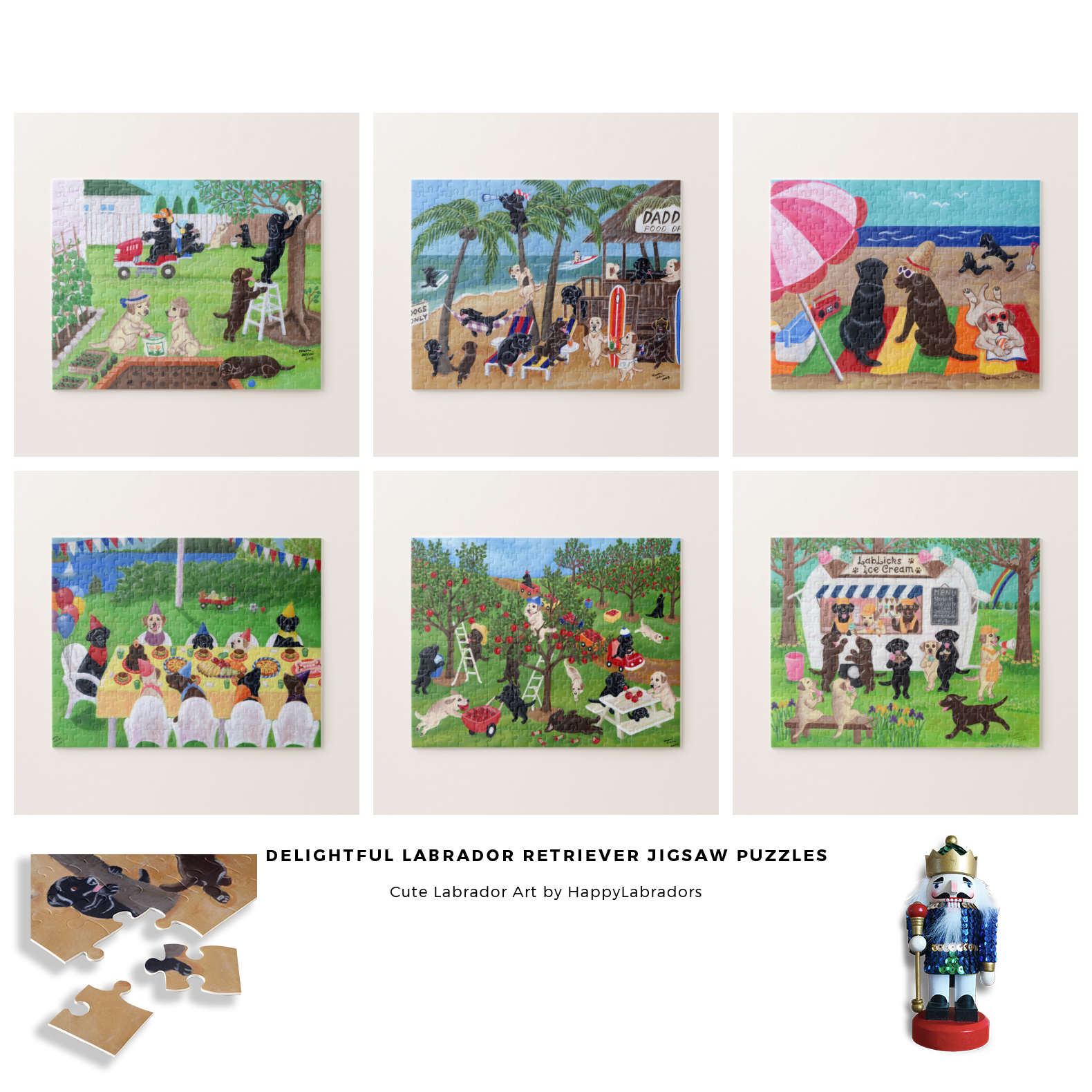 Cute Labrador Retriever Jigsaw Puzzle Collection by HappyLabradors