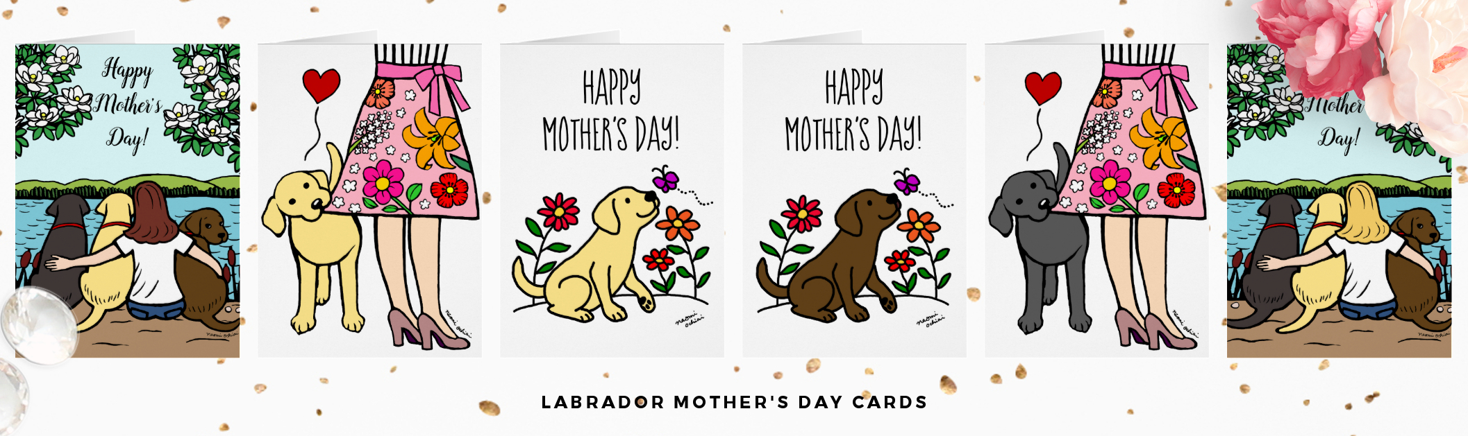 Labrador Retriever Mother's Day Greeting Cards by HappyLabradors in Zazzle