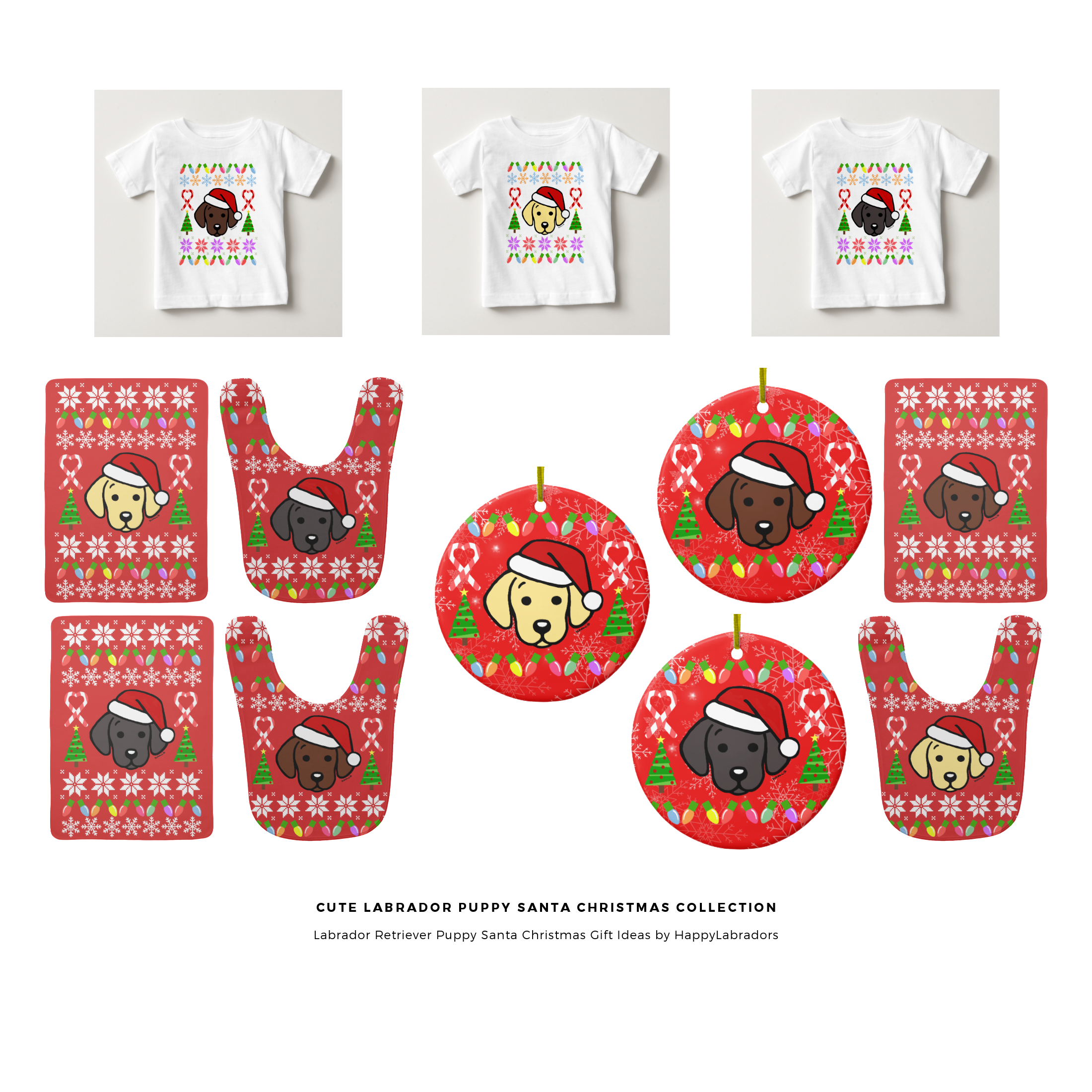 Super Cute Labrador Puppy Santa Christmas Collection by HappyLabradors @zazzle