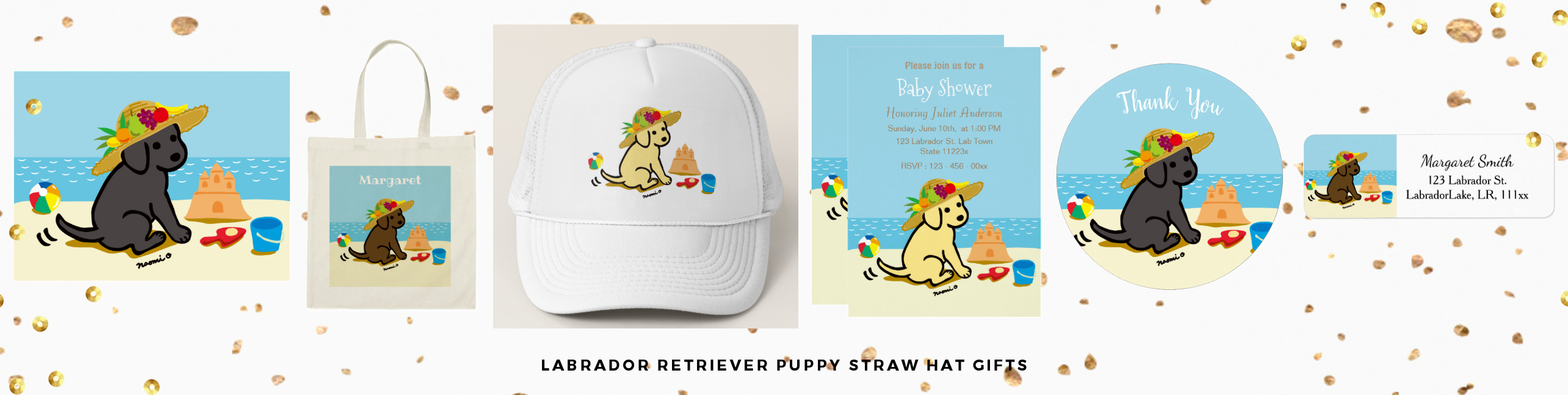 Labrador Retriever Puppy Straw Hat Gifts by HappyLabradors