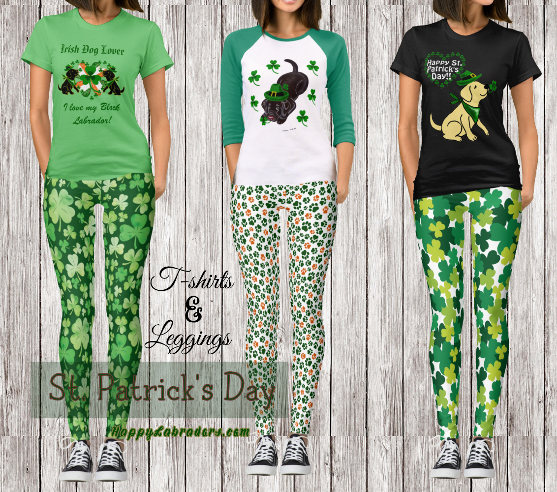 Labrador Retriever St. Patrick's Day T-Shirts and Leggings by HappyLabradors