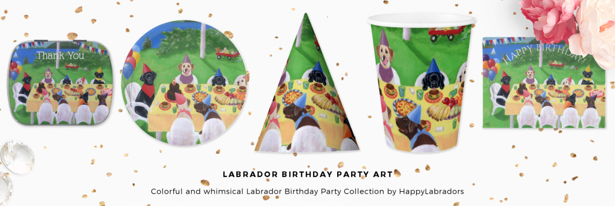Whimsical Labrador Retriever Birthday Party Collection by HappyLabradors @zazzle