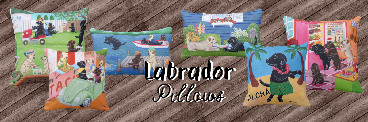 Cute Labrador Retriever Pillows by HappyLabradors in Zazzle