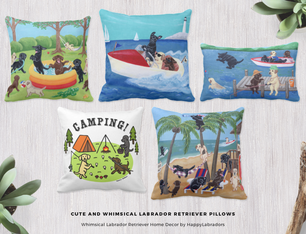 Cute and Whimsical Labrador Retriever Pillows by HappyLabradors