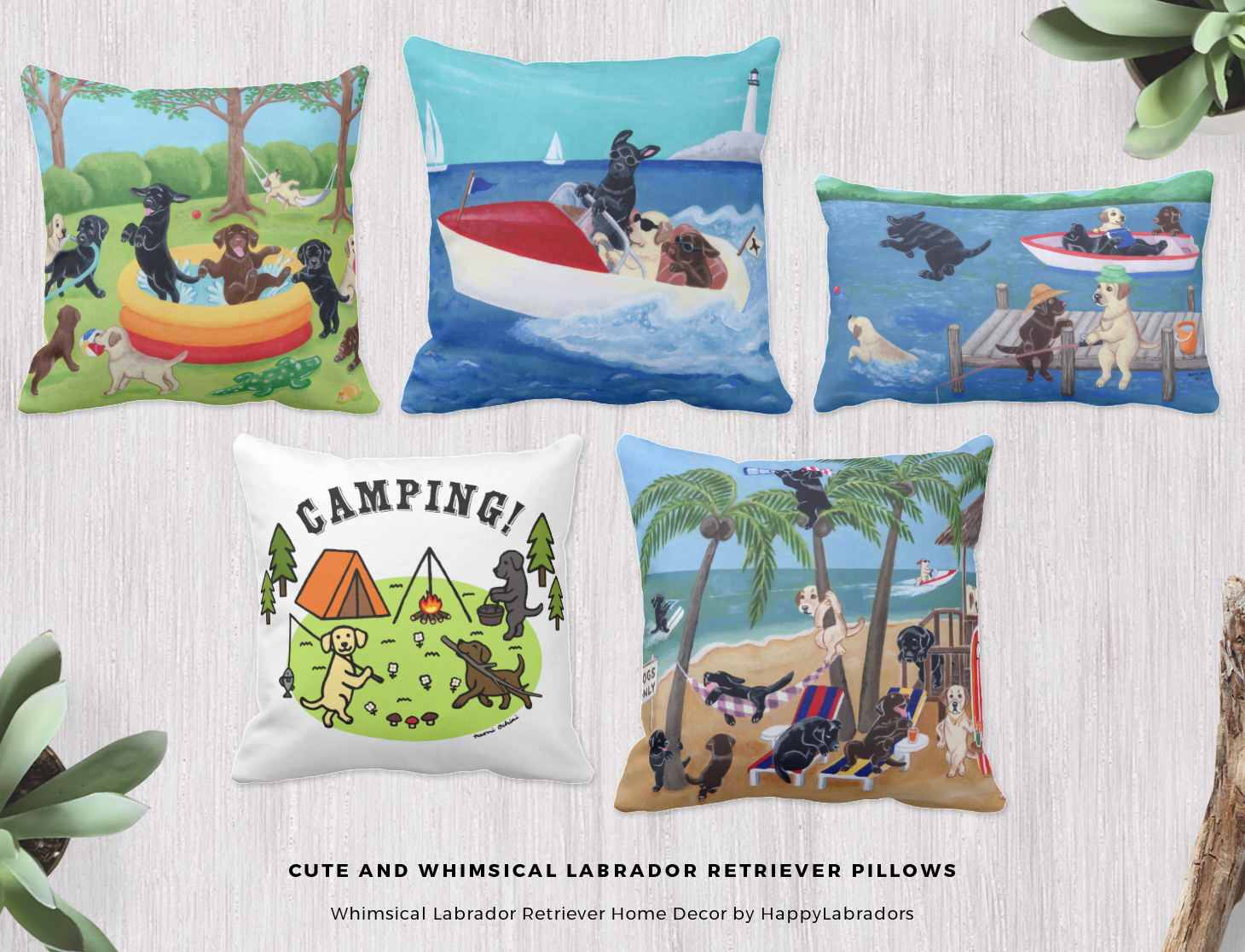 Cute and Whimsical Labrador Retriever Pillows Collection by HappyLabradors @zazzle