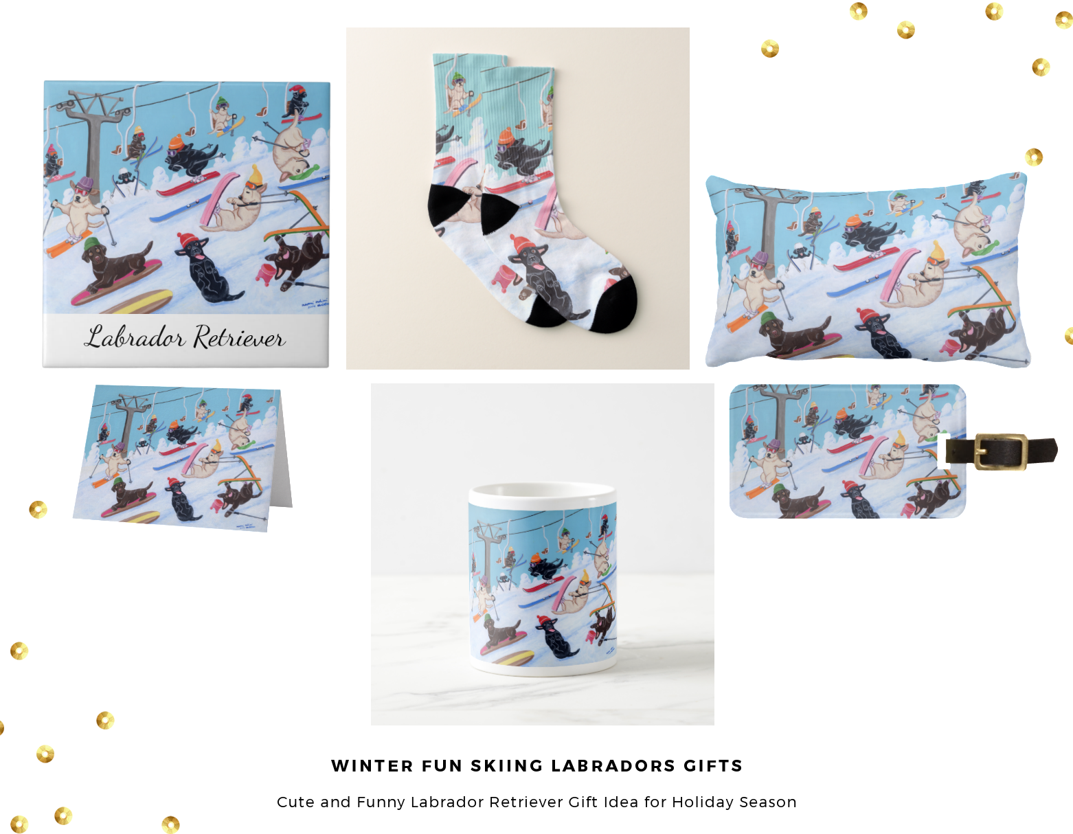 Winter Fun Skiing Labrador Gift Collection @zazzle