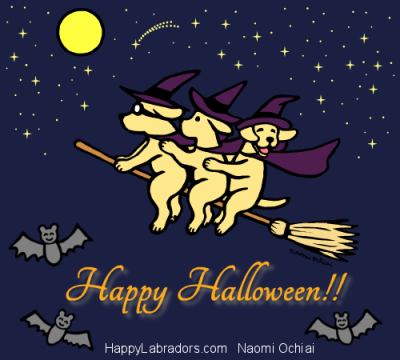 Halloween Yellow Labrador Cartoon by Naomi Ochiai